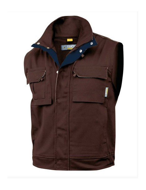 GILET TASK COTONE MULTITASCHE MARRONE XL